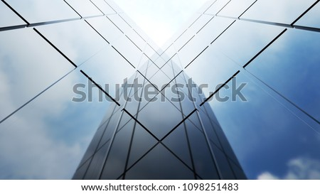 Low angle view of generic modern office skyscrapers ,high rise buildings with abstract geometry glass facades on a bright sunny day . Concepts of finances and economics background. 3d rendering .