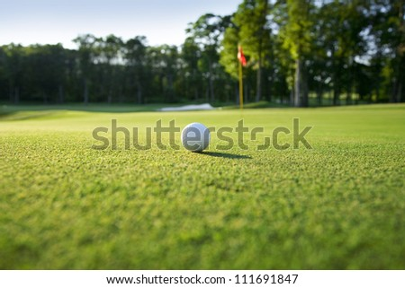 Low angle view of golf ball on green