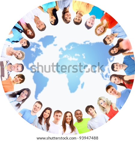 Low angle view of happy men and women standing together in a circle