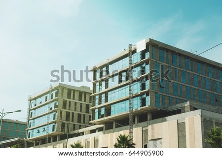 low angle view of modern buildings in Casablanca, Morocco