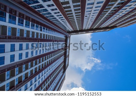 Low angle view of modern high rise condo building in Pattaya, Thailand #1195152553