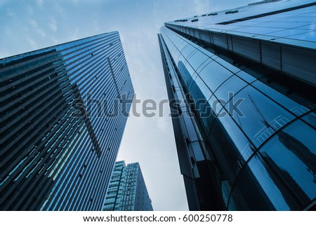 low angle view of modern office building exterior #600250778