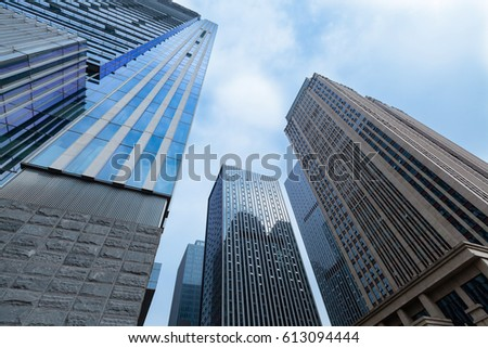 low angle view of modern office buildings in downtown #613094444