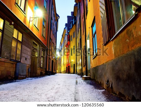 Low angle view of narrow street in Gamla Stan, the old town of Stockholm