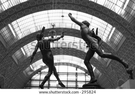 stock photo : Low angle view of nude sculptures of two male athletes, Paris,