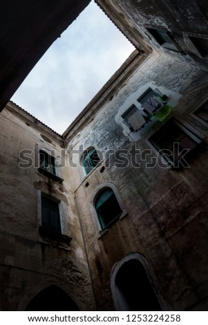 Low angle view of old building against sky; Cinque Terre; Italy #1253224258