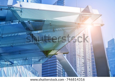 Low angle view of skyscrapers architectural glass #746814316