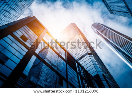 low angle view of skyscrapers in city of China #1101216098