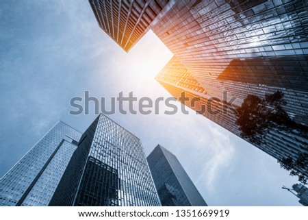 low angle view of skyscrapers in city of China #1351669919