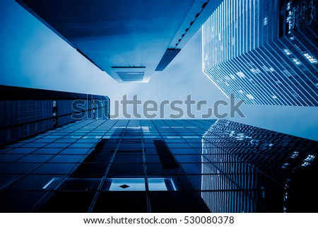 low angle view of skyscrapers in Hong Kong,China. #530080378