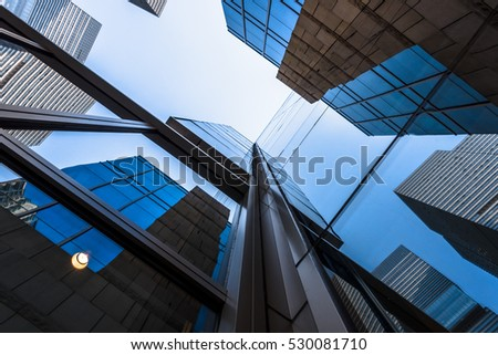 low angle view of skyscrapers in Hong Kong,China. #530081710