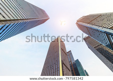 Low angle view of skyscrapers in the city #797581342