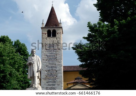 Low angle view of steeple against sky in Verona, Italy.  #661466176