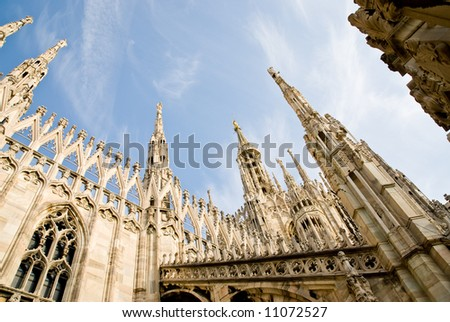 low angle view of the gothic cathedral of milan italy
