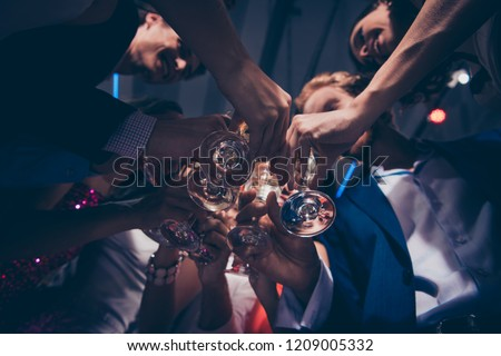 Low below angle view of diverse charming stylish cheerful ladies and trendy gentlemen in formal-wear, corporate company event, clinking wine glasses, chill out at fasionable night club, gathering #1209005332