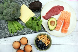 Low carb style diet protein based meat fish dairy eggs veg spinach berries and nuts for healthy weight loss through natural balanced diet through ketosis
