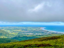 Low cloud and mist on the mountain road looking towards Ramsey and the Irish Sea on the beautiful Isle of Man