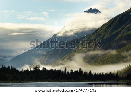 Low Clouds over Forest - Turnagain Arm, Anchorage, Alaska, USA