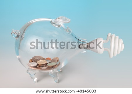 Low-energy light bulb and a glass piggy bank with saved money