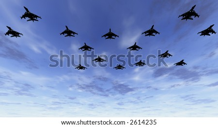 Low flying fighter-bomber jet aircraft in formation at an early morning sortie