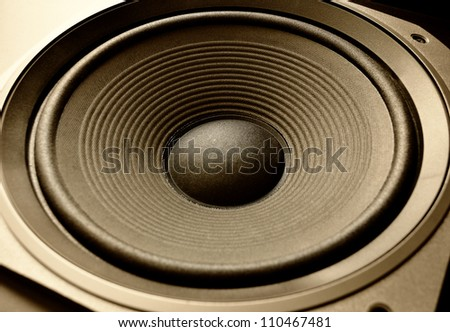 Low frequency speaker (subwoofer) close up