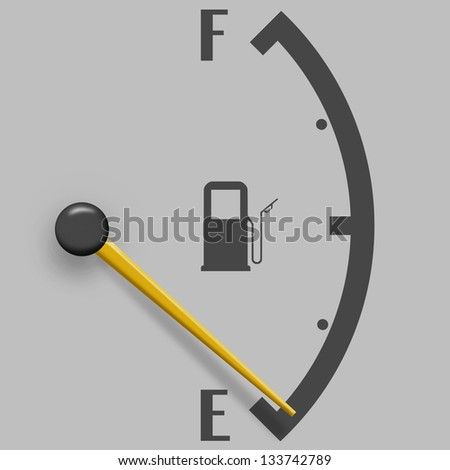 Low fuel sign isolated on a gray background