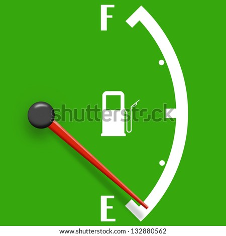 Low fuel sign isolated on a green background