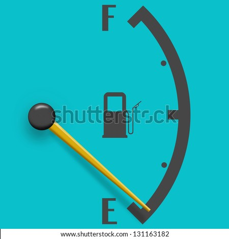 Low fuel sign isolated on a pale blue background