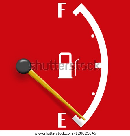 Low fuel sign isolated on a red background