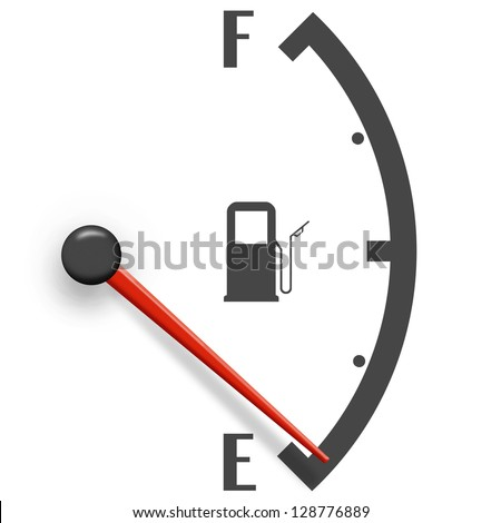 Low fuel sign isolated on a white background
