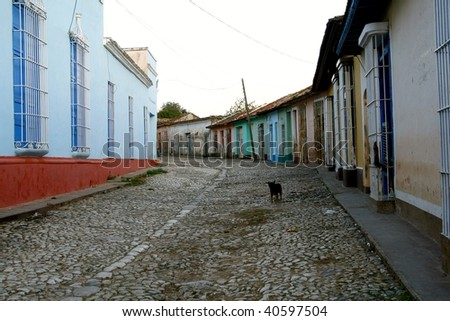 Low houses with bright and vibrant colors are typical for the small charming town of Trinidad, Cuba