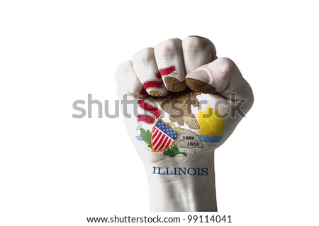 Low key picture of a fist painted in colors of american state flag of illinois