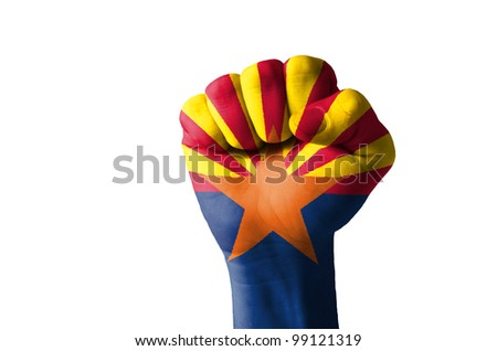 Low key picture of a fist painted in colors of american state flag of wyoming