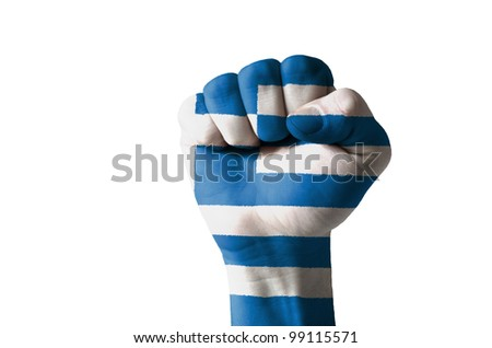 Low key picture of a fist painted in colors of greece flag - stock photo