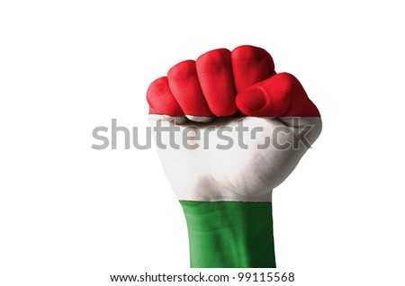 Low key picture of a fist painted in colors of hungary flag