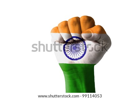 Low key picture of a fist painted in colors of india flag