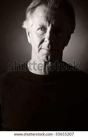Low Key Shot of a Handsome Senior Man