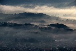 Low Level Stratus Cloud covering Toraja Utara into a thick Layer of Fog, Toraja, Sulawesi, Indonesia