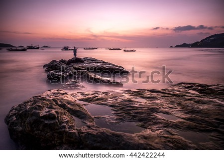 Low Light Long Exposure Sea Ocean Rock Salt Water Sunset Slow Motion Kalim Beach Phuket Thailand #442422244