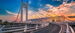 Low panorama of Basarab Overpass in Bucharest Romania at sunset