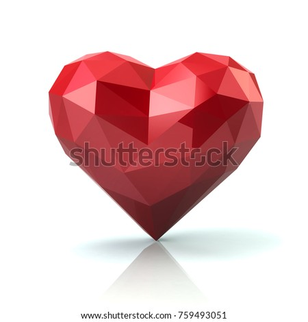 Low poly abstract red heart 3d illustration on white background. Love concept.