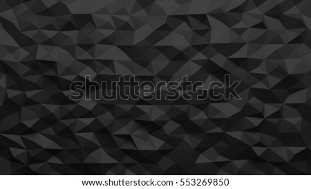 Low poly black triangle abstract background. 3D Illustration