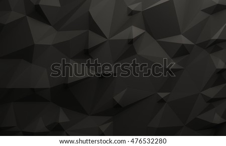 Low poly illustrated black background. 3d rendering.