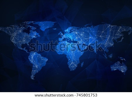 Low-poly image of world map with lights, communication. Wire frame concept of the world network