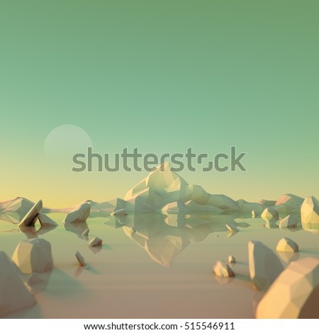 Low-Poly Mountain Landscape Reflecting on Water