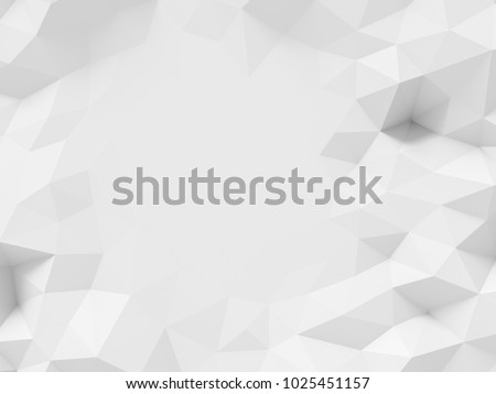 Low polygon 3d rendering white background.