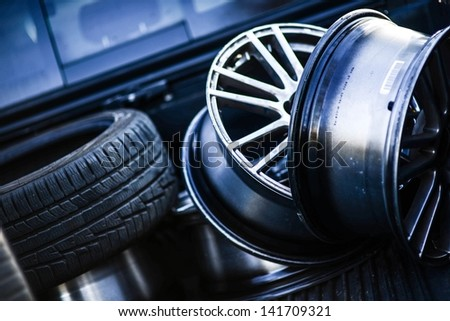 Low Profile Tires and Rims in the Garage. Transportation Photo Collection.
