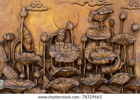 Low relief cement Thai style handcraft of buddhism philosophy (4 kinds of lotus)