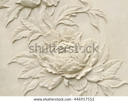 Low relief cement Thai style handcraft of rose flower