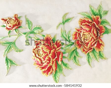 Low relief cement Thai style handcraft of rose flower #584141932